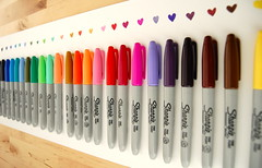 i <3 sharpies (sevenworlds16) Tags: love colors paper hearts rainbow 24 sharpie markers permanent