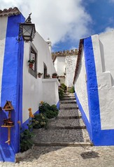 Bluelines (dynamosquito) Tags: street blue white portugal colors village couleurs eu location stairway bleu obidos rue blanc estremadura oeste panasoniclumixdmcfz50 ilustrarportugal srieouro pathscaminhos dynamosquito districtofleiria centroregion