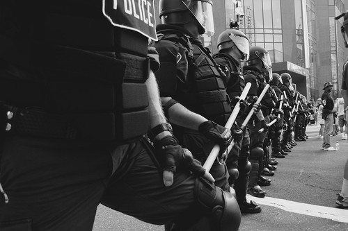 """This is what a police state looks like?"" by zoe prinds-flash."