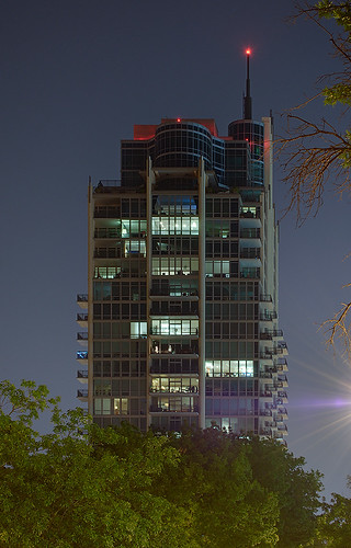 Central West End Neighborhood, in Saint Louis, Missouri, USA - Park East Tower at night