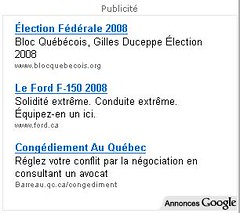 Bloc Quebecois AdWords Ads on Cyberpresse