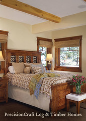 Bedroom in this Timber Frame Home | by PrecisionCraft Timber Homes | Located in California (PrecisionCraft Log & Timber Homes) Tags: pictures california wood homes house mountain home design floor timber room great plan frame custom architects luxury mammothca precisioncraft