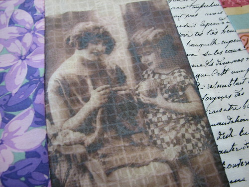vintage knitting photo printed on organza