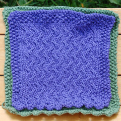 Bramble Patch 2 (Poopshe_Bear) Tags: green knitting purple handmade knit handknit vine twist towel dishcloth cotton knitted spa washcloth twisting facecloth