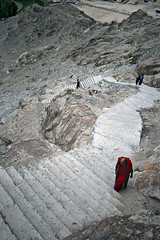Steep Climb (Leslein) Tags: shadow panorama snow mountains water silhouette clouds reflections river tibet valley tibetan kashmir leh himalayas moonscape 1022 ladakh khardungla nubravalley jammu jammuandkashmir nubra shyok shyokriver nubrariver