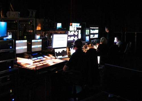 Mission control behind the stage by Nick Lansley.