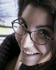 Stephanie (MastaBaba) Tags: usa smile glasses babe stephanie grinning sail lovely graysky 20020406 singlephoto whitewomaninblackjacket