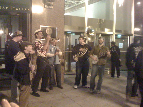 A band on Michigan Ave.