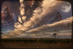 The Initiation of my Flight to the Purple Mountains Beyond Sonoma Mountain (Josh Sommers) Tags: mountains illustration flying photo jumping purple flight dream manipulation jumper distant
