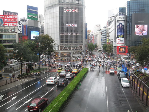 Shibuya crossing under the rain