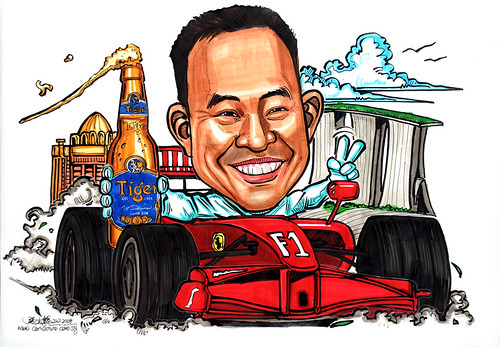 caricature for APB F1 Tiger Beer