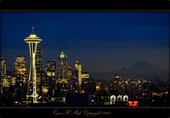 The Immortal City!  Seattle WA (CyrusMafi) Tags: seattle city longexposure blue nature yellow night gold washington cityscape best captures the mauntain beautysecret kartpostal spaceniddle anawesomeshot aplusphoto spiritofphotography flickrlovers cyrusmafi mountreainier