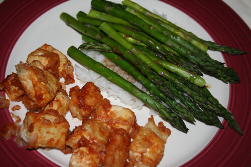 Asparagus with Balsamic Butter Sauce and Fried Tofu with Honey BBQ Sauce