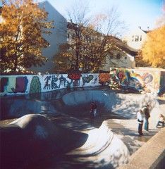 Draw me a Picture (Nick Today) Tags: park blue people film oslo norway analog graffiti holga lomo colorful skate nickinnorway
