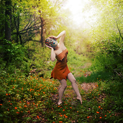 a dance of my own. (karrah.kobus) Tags: girl hope dance alone mask lonely deerskin ohandgrrrsharpening itsactuallyrainyandgloomyouttodaybutevenincamerathisspotforsomereasonglowed