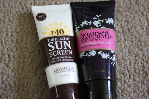 Lavanila The Healthy Sun Screen; Noah's Naturals moisturizer with sunscreen