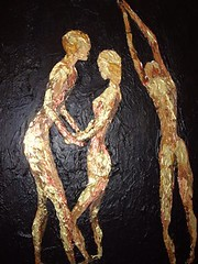 golden dancers painting (dilemma_pics) Tags: uk original art painting scotland picasa canvas oil british amateurs apictureisworthathousandwords scottishgirl girlphotographers emmaseymour dilemmapics maggiseymour originalpaintingbymaggiseymour takenbyascottishgirl ©ejseymour2008