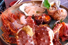 Summer Hokkaido seafood   (unlimited inspirations) Tags: decorations red food love japan dinner fun lunch cuisine restaurant asia hokkaido flickr dish style crab shrimp fresh delicious eat  seafood  buffet scallop expensive        unlimitedinspirations