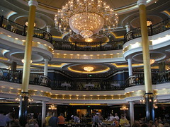 Grandeur on the high seas (loisberg12) Tags: food lights restaurant eating balcony chandelier diningroom cruiseship dining luxury macbeth romeoandjuliet kinglear waiters opulence servery cruisedining independenceoftheseas loisberg12
