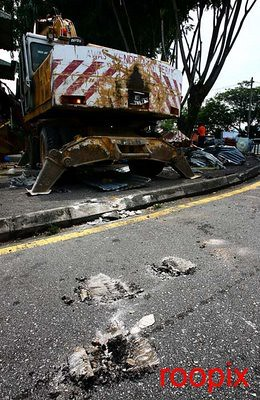 Road damaged by the machinery