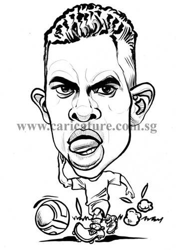 Caricature of Nani ink watermark