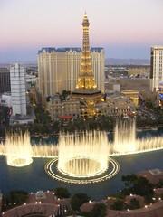 Bellagio Fountains at dusk