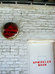 Sprinkler Room (The Joy Of The Mundane) Tags: red white color colour brick colors colorful colours bricks sprinkler brickwall colourful