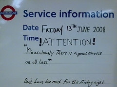 !Attention! (suburbanslice) Tags: cameraphone colour london sign digital geotagged tube barbican service londonunderground circleline temporary attention information roundel tfl
