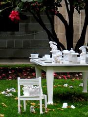 Wonderland (fa11ing_away) Tags: flowers sculpture rabbit bunny bunnies grass garden table random bloom teacup saucer teaparty unimelb msh0608 msh06087