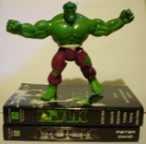 Hulk movie books with action figure standing on them