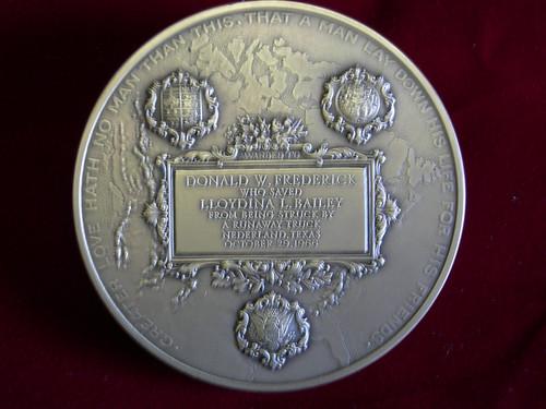 Frederick Carnegie Hero Medal Reverse