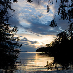 Dinner Bay Sunset (Jon Christall) Tags: ocean sunset sea canada clouds landscape bc britishcolumbia explore gulfislands   mayneisland  flickrexplore mywinners  aplusphoto dinnerbay