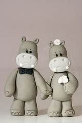 Hippo Bride & Groom (Rouvelee's Creations) Tags: cake groom bride hippo hippopotamus topper