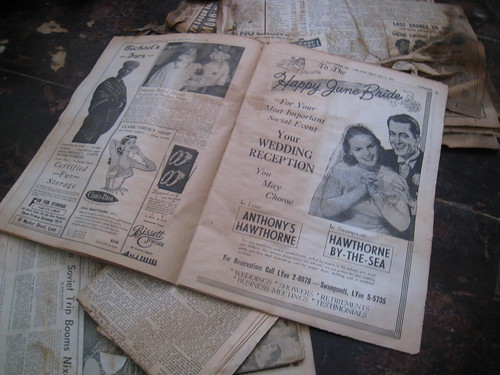 Wedding Section of Old Newspaper