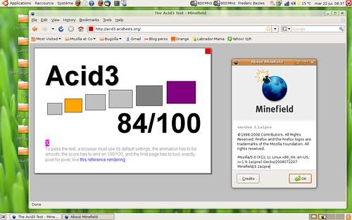 84 / 100 pour le test Acid3 sous Shiretoko alpha1