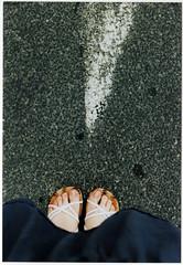 Found (s0phi3 / ) Tags: street white film feet me shoes sandals scan arrow canonae1 asfalto piedi freccia analogic analogico sandali scansione sooc fotografinewitaliangeneration