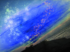 magic sky (bluarancio85) Tags: stella sky colors photoshop stars italia mare magic brush instant atmosfera spiaggia magia manipolazione nebulose mywinners bluarancio
