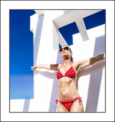 Baking (Wondertubs) Tags: woman hot dive sunny ibiza bikini redwhiteandblue sunbathing sizzling hopperesque redpolkadot mrswondertubs