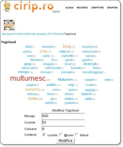 Tagcloud pentru 500 mesaje