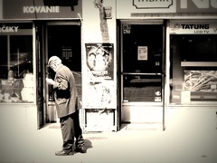 Old man walking one morning in Bratislava (francesca.mazzucato) Tags: sadness solitude compassion vision streetphoto mybest bratislava oldmen urbanvision francescamazzucato goldenvisions