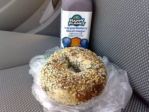 Bagel House's Montreal Style Whole Wheat Bagel and a Happy Planet Drink