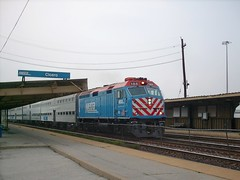 Westbound Metra express commuter train. Cicero Illinois. September 2007.