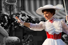 Mary Poppins Selective Coloring (SDG-Pictures) Tags: show california red blackandwhite white black color smile hat umbrella fun happy grey costume dress redribbon lace disneyland mary joy performance dressup happiness disney parade entertainment gloves characters ribbon