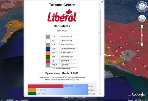 Toronto-Centre / Canadian Federal Elections 2008 on Google Earth
