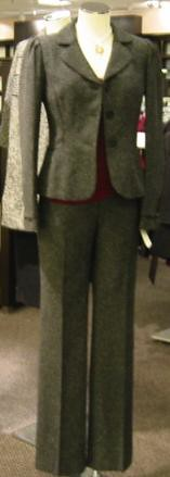 Gray business suit with burgundy top.