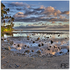 Rocky Reflections (Ryan Eng) Tags: ocean park sunset sea sky reflection beach water clouds landscape hawaii pier nikon rocks oahu palmtrees kai lowtide hdr kahala cs3 d90 photomatix digitalblending 18105mm vertorama ryaneng