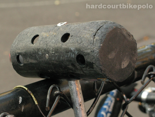 worn down lucky bike polo mallet head