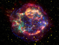 Cassiopeia A: Cassiopeia A in Many Colors (Smithsonian Institution) Tags: color stars casa pattern foto space galaxy nebula astronomy supernova outerspace chandra spazio satellitephotos smithsonianinstitution falsecolor universo spitzer compositeimage spaziali supernovaremnant smithsonianastrophysicalobservatory chandratelescope cassiopeiaa casasupernova chandracolorfulcomposite