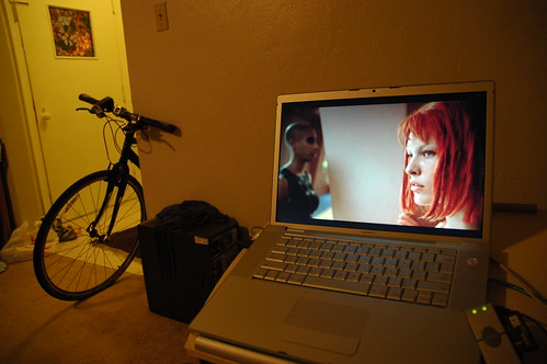 The Promise, Habitat, Modern Lifestyle, 5th Element vid on Hulu.com, MacOS laptop, bike, desktop computer (not hooked up) San Mateo, California, USA by Wonderlane