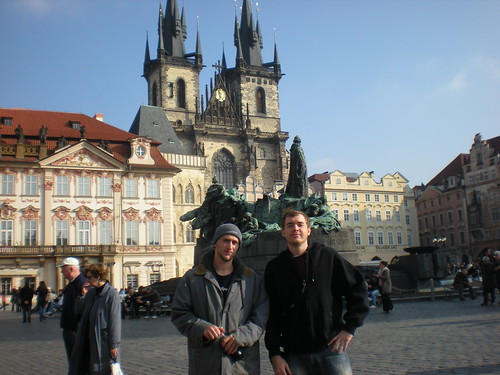Sean and Chris in Pragues Old Town Square on Oct. 25, 2008.